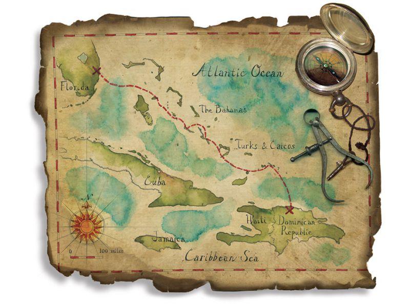 Pirate map art